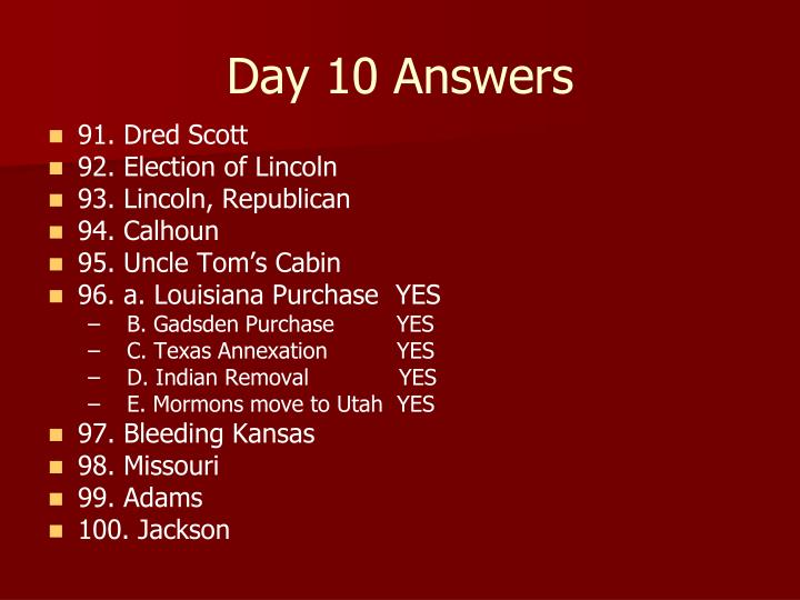 Day 10 Answers
