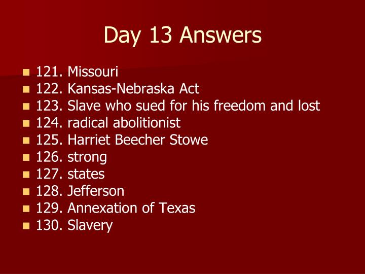 Day 13 Answers
