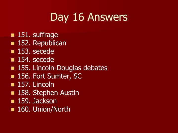 Day 16 Answers