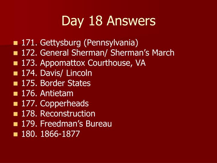 Day 18 Answers