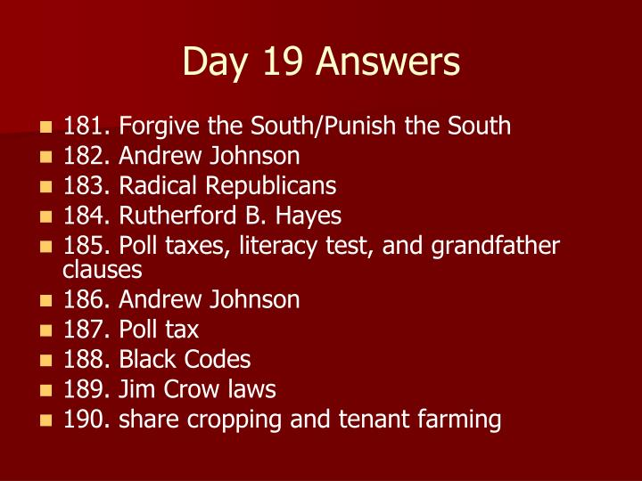 Day 19 Answers