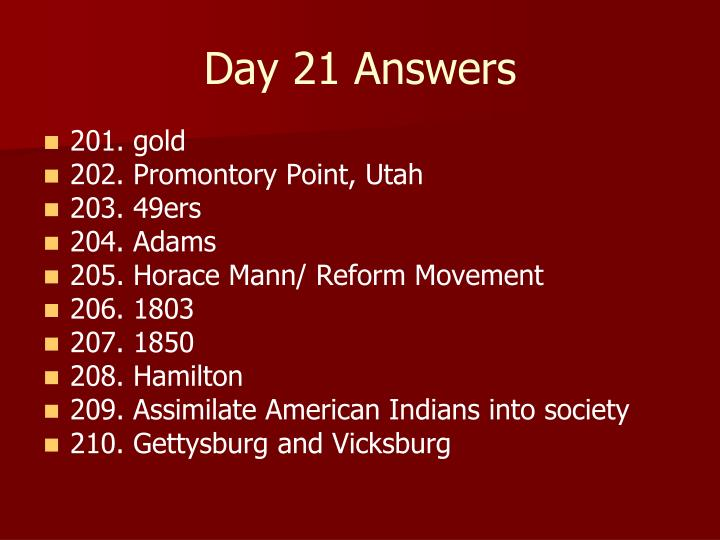 Day 21 Answers