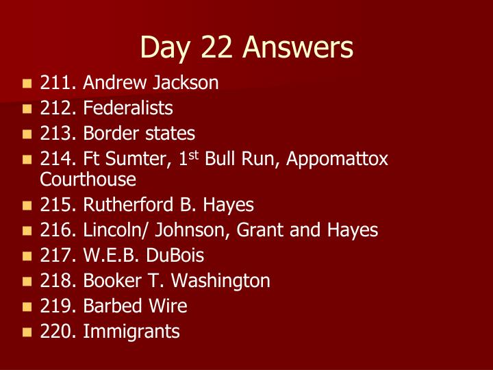 Day 22 Answers