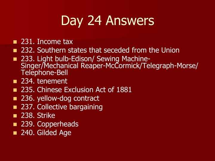 Day 24 Answers
