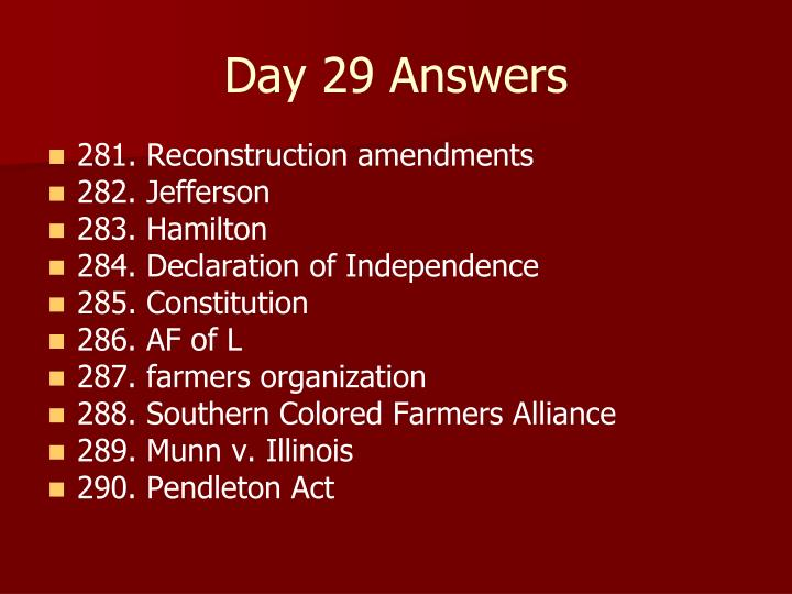 Day 29 Answers