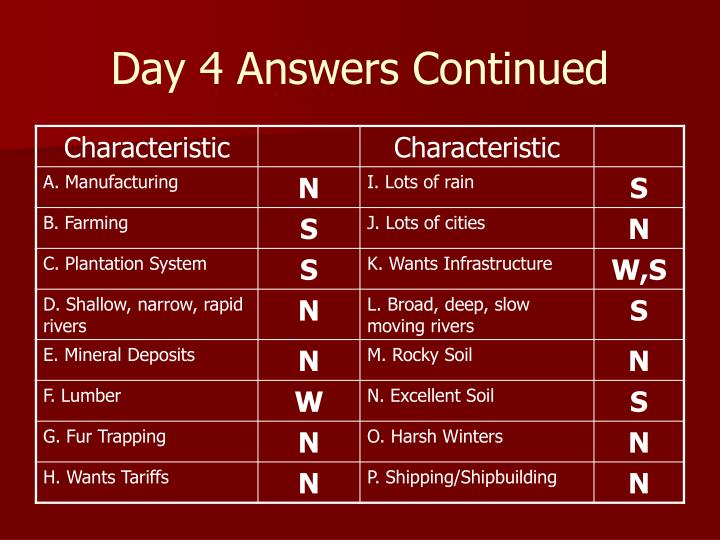 Day 4 Answers Continued