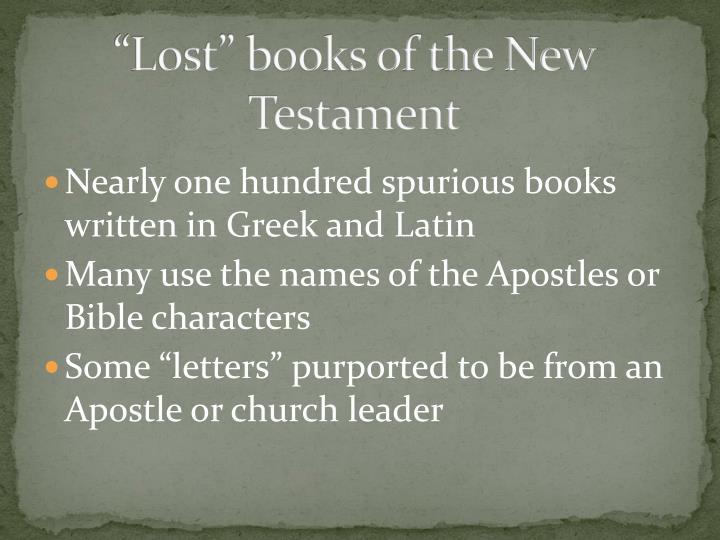 """Lost"" books of the New Testament"