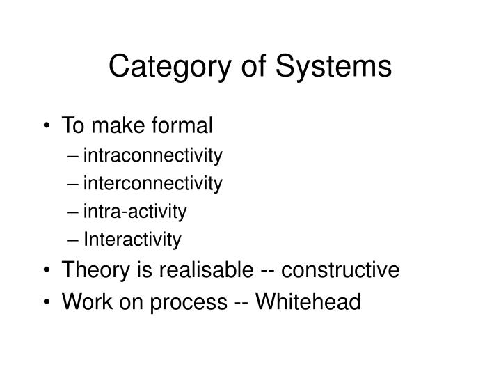Category of Systems