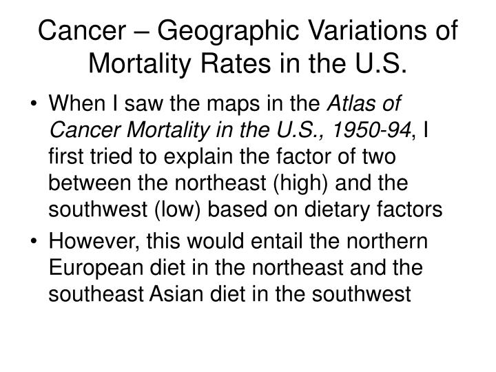 Cancer – Geographic Variations of Mortality Rates in the U.S.