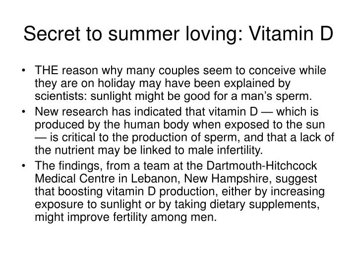 Secret to summer loving: Vitamin D