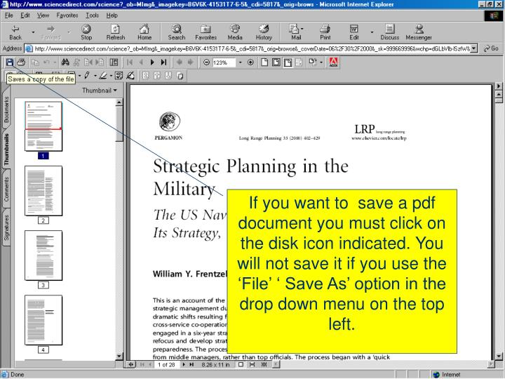If you want to  save a pdf document you must click on the disk icon indicated. You will not save it if you use the 'File' ' Save As' option in the drop down menu on the top left.