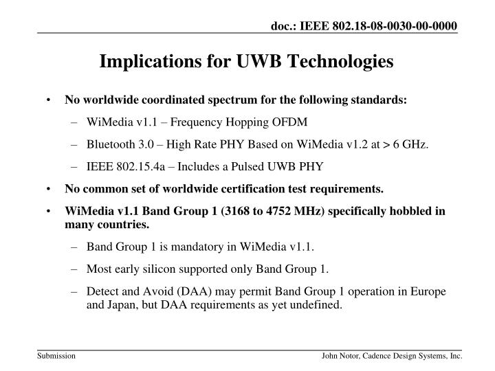 Implications for UWB Technologies