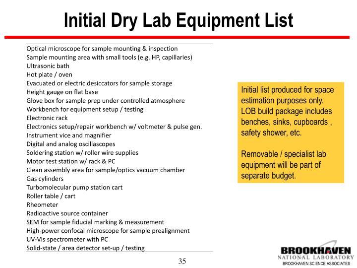 Initial Dry Lab Equipment List