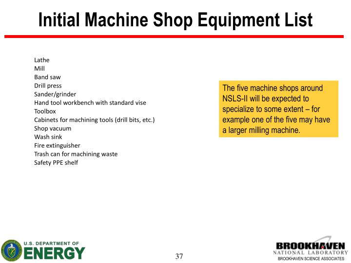 Initial Machine Shop Equipment List