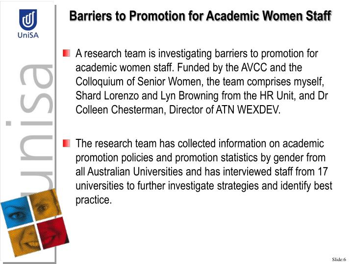 Barriers to Promotion for Academic Women Staff