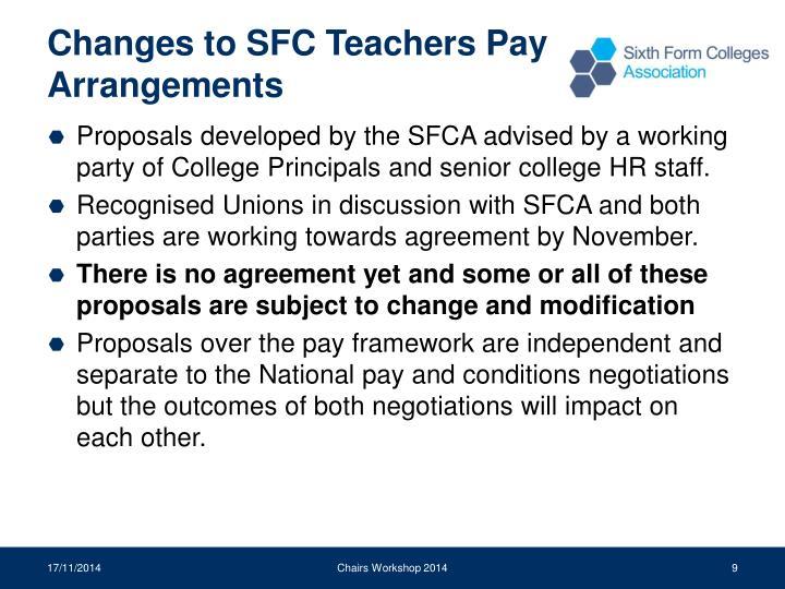 Changes to SFC Teachers Pay Arrangements