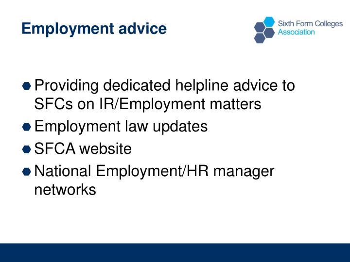 Employment advice