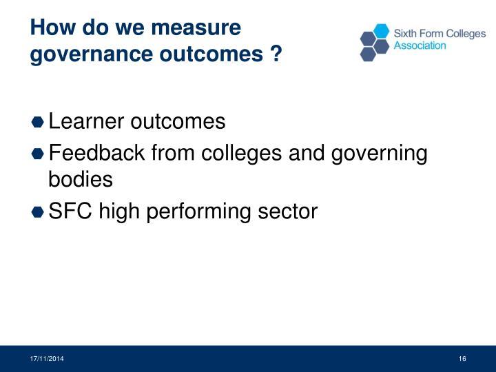 How do we measure governance outcomes ?