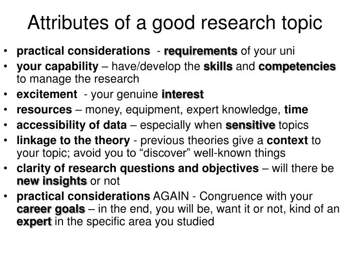 Attributes of a good research topic