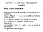 turning research ideas into research projects