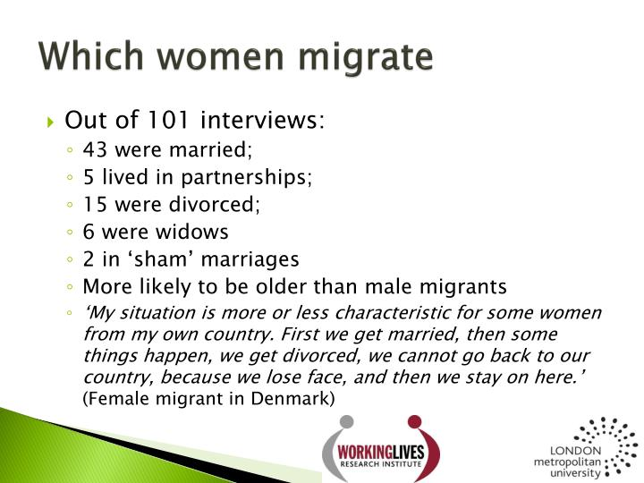 Which women migrate