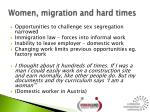 women migration and hard times