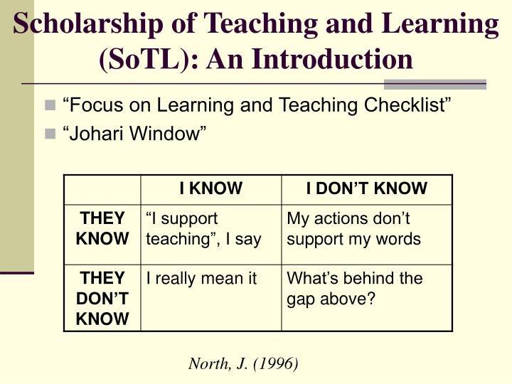 Scholarship of teaching and learning sotl an introduction