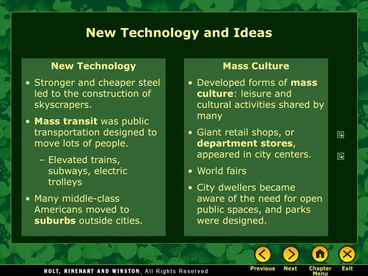 New Technology and Ideas