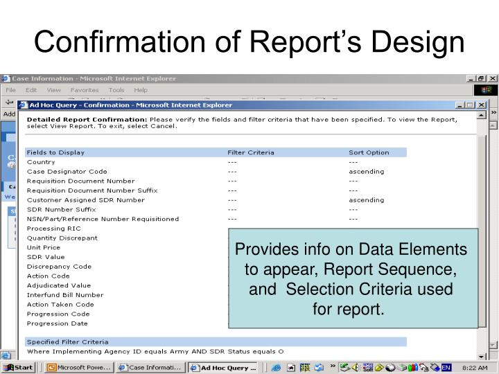 Confirmation of Report's Design