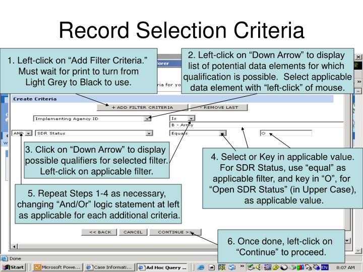 Record Selection Criteria