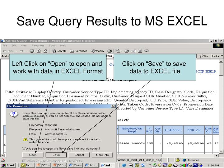 Save Query Results to MS EXCEL