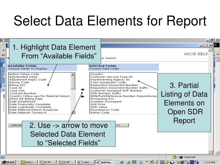 Select Data Elements for Report
