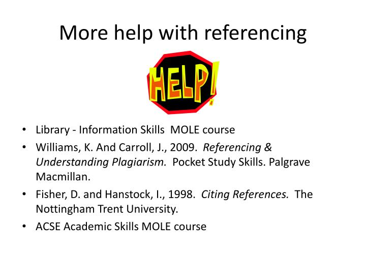 More help with referencing