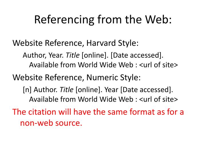 Referencing from the Web: