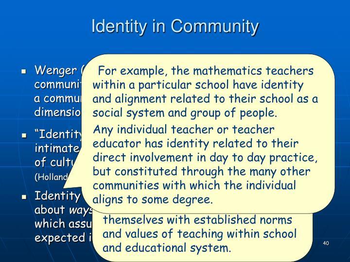 Identity in Community
