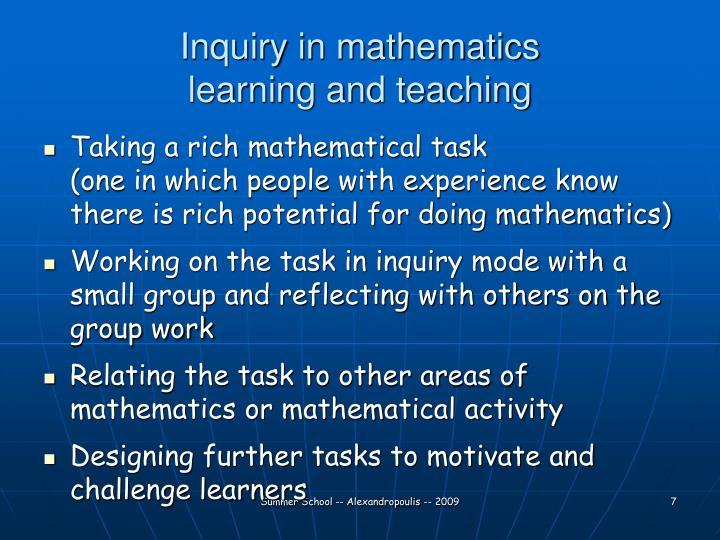 Inquiry in mathematics
