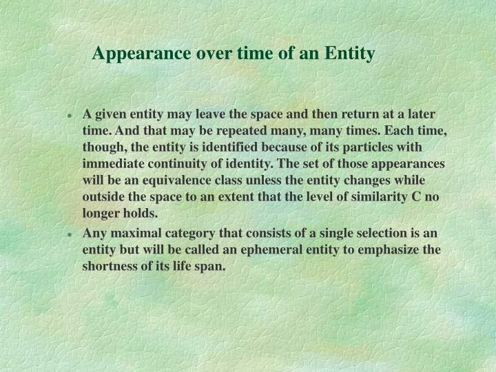 Appearance over time of an Entity