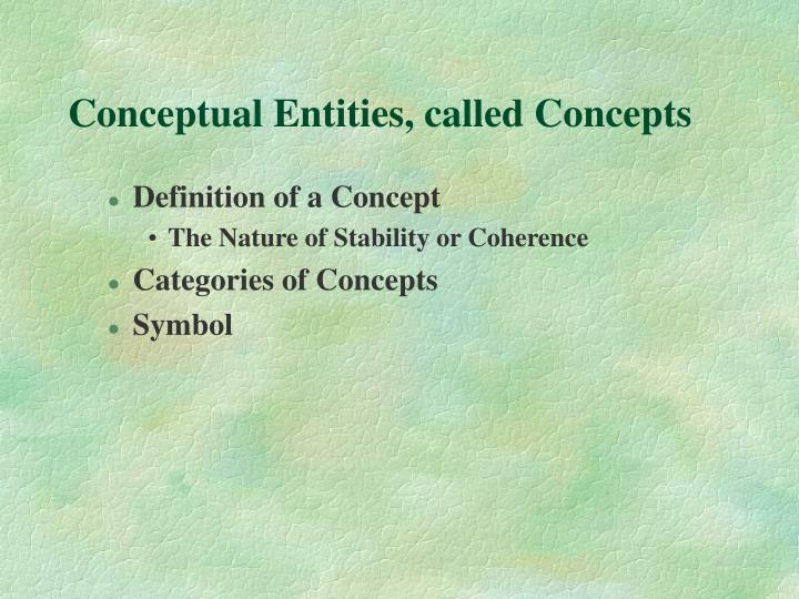 Conceptual Entities, called Concepts
