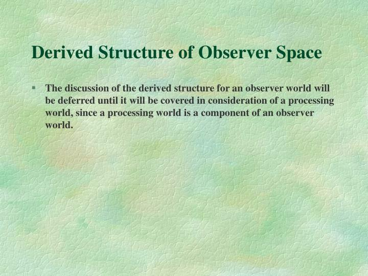 Derived Structure of Observer Space
