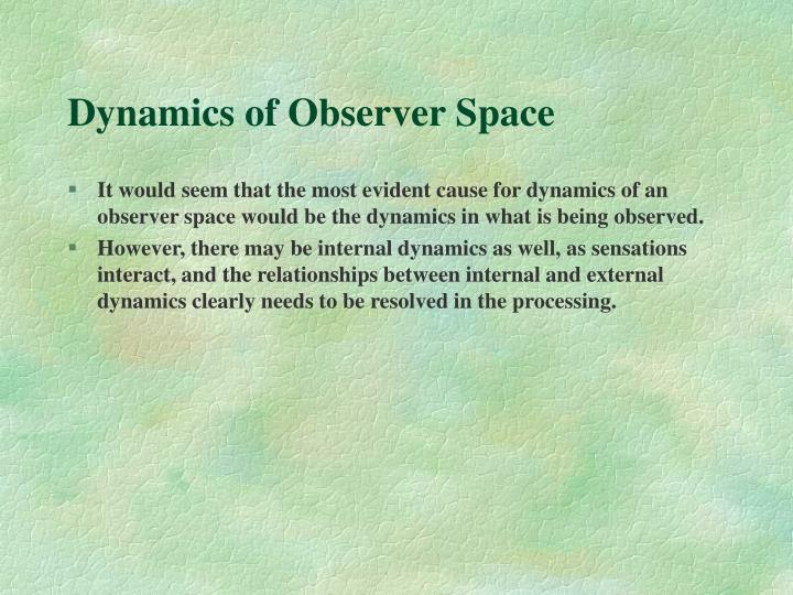 Dynamics of Observer Space