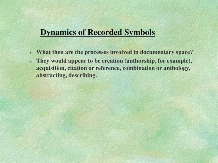 Dynamics of Recorded Symbols
