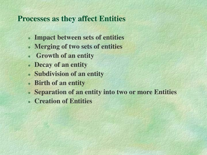 Processes as they affect Entities