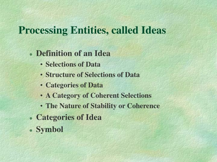Processing Entities, called Ideas