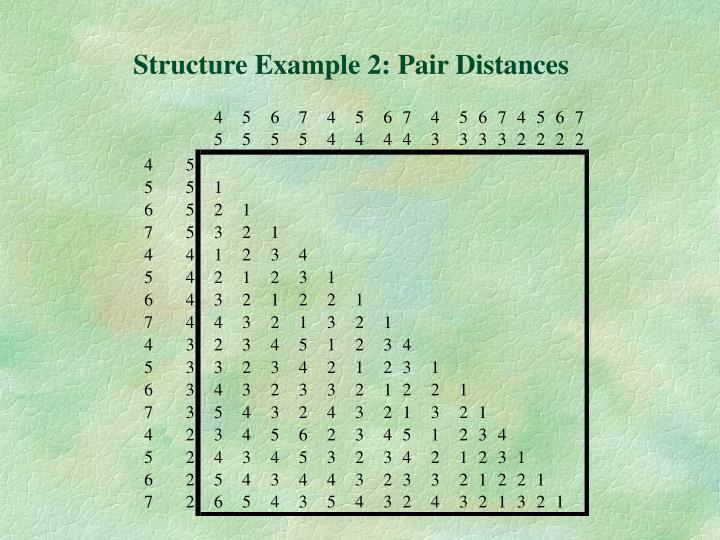 Structure Example 2: Pair Distances