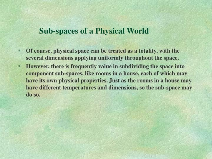 Sub-spaces of a Physical World
