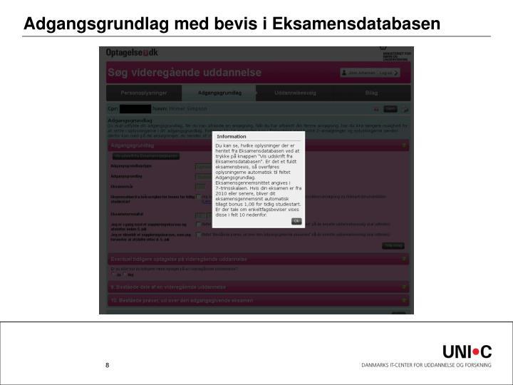 Adgangsgrundlag med bevis i Eksamensdatabasen