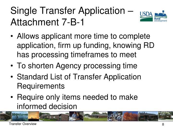 Single Transfer Application – Attachment 7-B-1