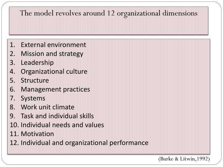 The model revolves around 12 organizational dimensions