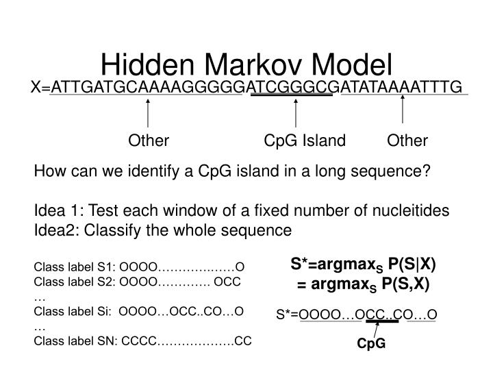 How can we identify a CpG island in a long sequence?