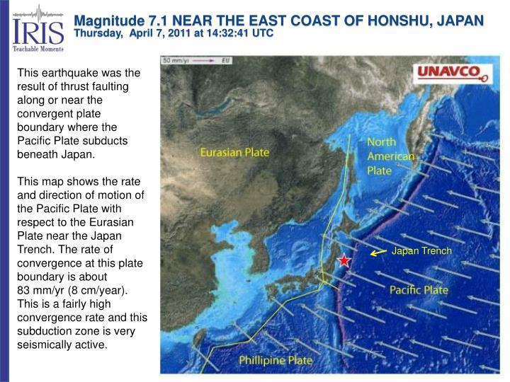 Magnitude 7.1 NEAR THE EAST COAST OF HONSHU, JAPAN